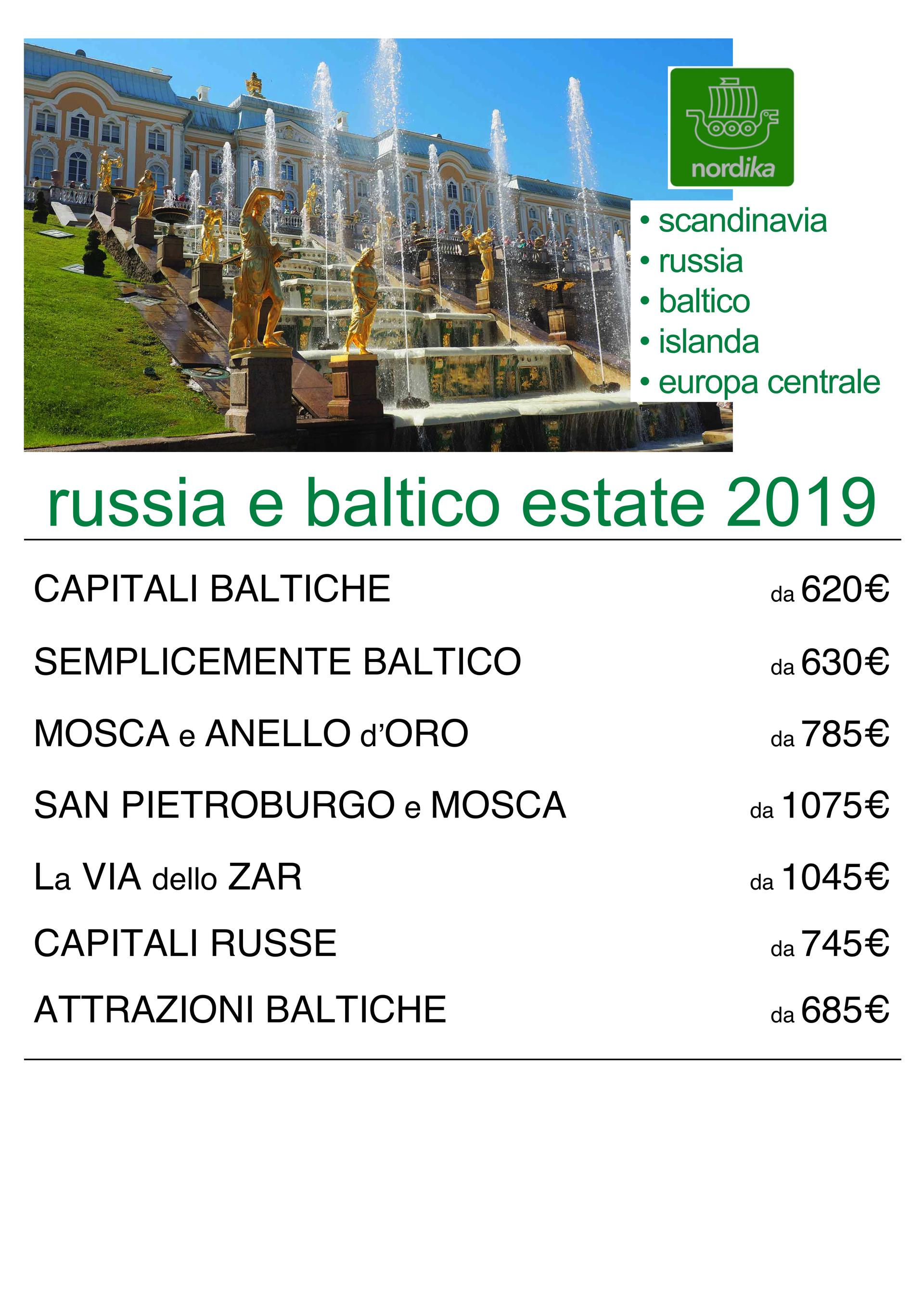 RUSSIA E BALTICO ESTATE 2019